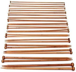 Pixnor Aiguilles à simple pointe Crochet Aiguilles à tricoter en bambou carbonisé Usage professionnel (2.0mm-10mm)–36...