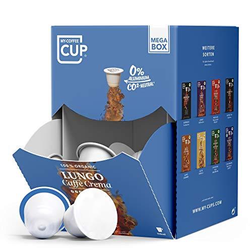 My-CoffeeCup – MEGA-BOX LUNGO CAFFÈ CREMA – BIO-KAFFEE I 100 Kaffeekapseln für Nespresso®*-Kapselmaschinen I 100{0bfacf5073a45903d33282aafb0d72087af5ffcaa3bb1d7dc57f288eaae3982a} industriell kompostierbare Kaffeekapseln – 0{0bfacf5073a45903d33282aafb0d72087af5ffcaa3bb1d7dc57f288eaae3982a} Alu I Nachhaltige Kaffeekapseln