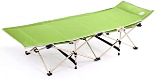 Folding Portable Office Recliner Single Folding Bed High Load-Safe and Secure Folding Chair, 180cm/70.9inch (Color : Green)