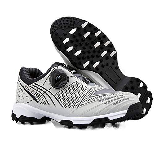 CGBF- Kinder-Golfschuhe mit Schnalle, Schnürsenkel, leicht, wasserdicht, atmungsaktiv, bequem, ohne Stacheln, für Kinder., Schwarz - Schwarz - Größe: 34 EU