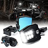 Xprite UTV Side View Mirrors Aluminium w/ LED Spot Lights Smoke Lens Compatible with 1.5'-2' Roll Cage Bar for Pioneer Polaris RZR, Side by Side, Can Am X3, Kawasaki Teryx Mule, Yamaha Rhino Wolverine