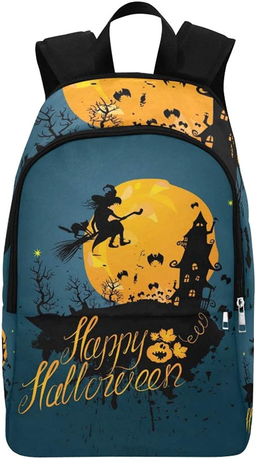 Halloween Night Silhouette Witch Cat Flying Casual Daypack Travel Bag College School Backpack for Mens and Women