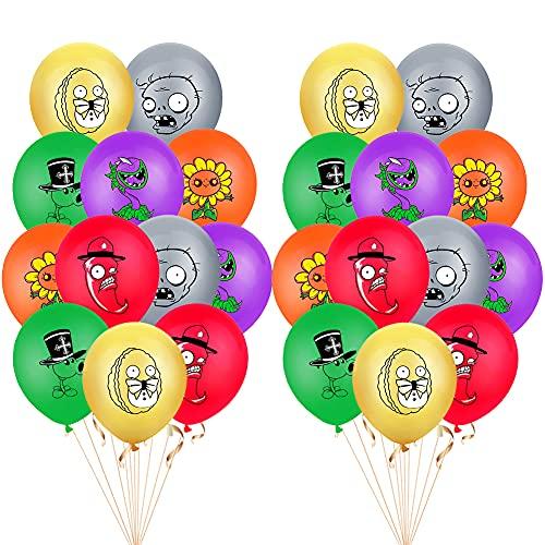 Hilloly 24 Pcs Plants vs. Zombies Party Kit di Forniture per Feste Zombie Palloncini a Tema Palloncini per Compleanno, per Ragazzi, Bambini Tirare Bandiera Palloncino Forniture per Torta