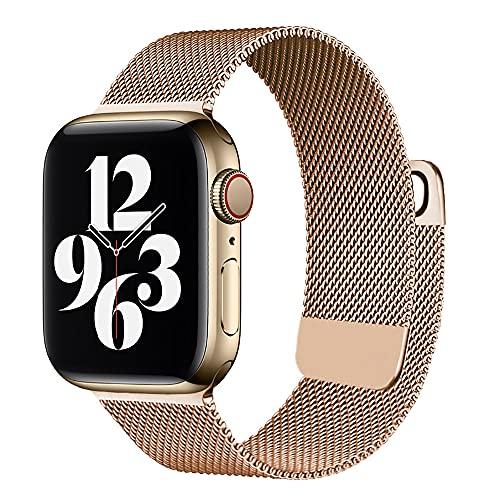 Compatible con Apple Watch Band 38/40 mm 42/44 mm, correa de malla magnética ajustable de acero inoxidable para iWatch Series 6/SE/5/4/3/2/1, 38/40mm, Acero inoxidable,