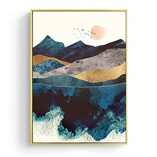 Nachtnebel Nordic Sunrise Mountain Leinwand Malen und Drucken Wohnzimmer Wandbilder A4 21x30cm
