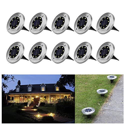 Wilktop 10er im Set Solarleuchten für Garten Solarlampe Garten Lampe Solarleuchte Bodenleuchte Warmweiß mit 8LEDs Licht Bodenstrahler LED Außen Garten IP65 Wasserdicht