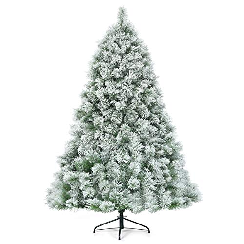 Goplus 7ft Snow Flocked Artificial Christmas Tree, Premium Hinged Pine Tree with Metal Stand, 100% New PVC Material, Unlit Xmas Tree for Indoor and Outdoor