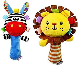 simhoa 2Pcs Development Cartoon Lion Animal Plush Toy Baby Infant Hand Bell Rattle