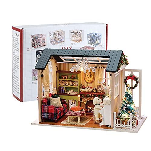 Miniatura de la Casa de Muñecas con Muebles de Navidad,Kit de Manualidades DIY...