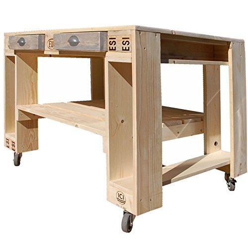 51UiIYnzFKL - Palettenmöbel Grill-Tisch Captain Cook Basic, Neuholz gebeizt in klassischer Paletten Optik, jedes Teil ist einzigartig und Wird in Deutschland in Handarbeit gefertigt