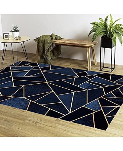MANI TEXTILE Grafic Alfombra, poliéster, Azul, 120 x 180