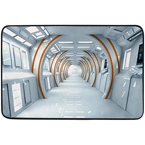 YUAZHOQI Fantasy Door mat Outdoors, Futuristic Hallway of Spaceship Digital Architecture Sci Fi Style Inner View, W19.7 x L31.5 Inch doormats for Outdoor Entrance Funny, Baby Blue Orange