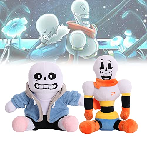 BLdDRcg 2pcs Sans and Papyrus Plush, Cute Soft Stuffed Animal Doll Gifts for Boys and Girls (Sans + Papyrus)