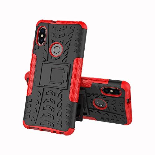 JMstore Cover Compatibile con Xiaomi Mi A2/Mi 6X SchermoVetro temperato,[Staffa] Custodia in Silicone Misto Doppio (Rosso)