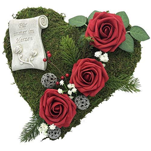Radami Grabgesteck Grabschmuck Moosherz Grabherz Trauerherz Gesteck - Für Immer im Herzen - 30cm 3 Rosen rot …