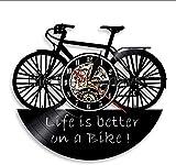 BBNNN Reloj de Bicicleta El Reloj de Pared con Disco de Vinilo en la Bicicleta durará más, un Reloj de Pared de decoración de Oficina Antiguo de 12 Pulgadas