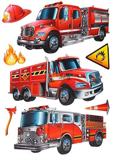 alles-meine.de GmbH 7 TLG. Set: XL 3-D ! Wandtattoo / Fensterbild / Sticker - Feuerwehr - wasserfest beschichtet - selbstklebend Pop-Up Aufkleber Wandsticker - Feuerwehrauto - au..