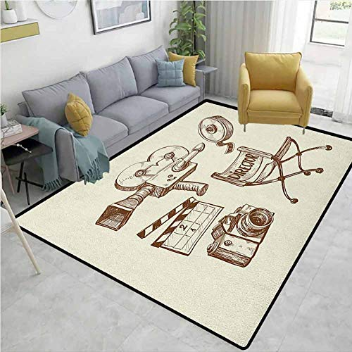 Find Bargain YucouHome Movie Theater Personalized Area Rug Hallway Runner, Photography and Cinema Vi...