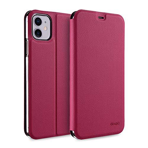 doupi Flip Hülle für iPhone 11 (6,1 Zoll), Deluxe Schutz Hülle mit Magnetischem Verschluss Cover Klapphülle Book Style Handyhülle Aufstellbar Ständer, rot pink