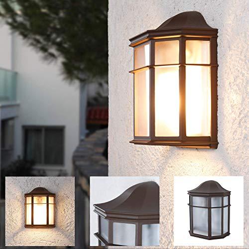 LHG Wandleuchte 25,2 cm, Wand-Laterne rustikaler Landhaus-Stil, antike Außenleuchte, Terrassenbeleuchtung in klassischer Form, braune Außenwandleuchte E27 + Wandlampe IP23 + dimmbar
