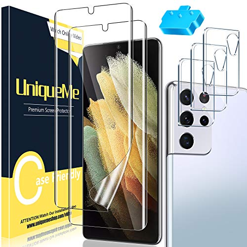 [ 2+3 Pack ] UniqueMe TPU Soft Screen Protector + Camera Lens Protector Tempered Glass Compatible with Samsung Galaxy S21 Ultra 5G - 6.8 inch