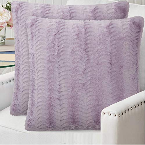 The Connecticut Home Company Original Faux Fur Pillowcases Set of 2, Decorative Case Sets, Many Colors, Throw Pillow Covers, Luxury Soft Cases for Bedroom, Living Room, Sofa, Couch, Bed, 18x18, Purple