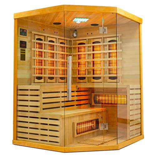 Elbe Infrarotkabine für 3 Personen aus Hemlockholz, 8 Vollspektrumstrahler, 1 Carbonstrahler, Saunakabine mit Farblichtherapie, Ionisator und Audio System, Innensauna für Indoor-Wellness