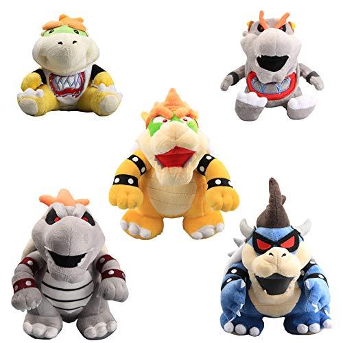 uiuoutoy Super Mario Bros. King Bowser & Dry Bowser & Dark Bowser & Bowser Jr & Dry Bowser Jr Plush 10'' Set of 5 pcs