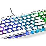 QFERW Clavier Keycaps avec Fantaisie LED Gaming Clavier MécaniqueMachine à écrire Clé Ronde Cap 104 Touches pourRétro-ÉclairéJoueur Stylisé, Blanc