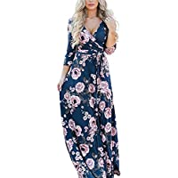 Lover-Beauty Vestido Mujer Largo Floral Print Casual para Fiesta Noche Elegante Top Dama Ropa de Manga Larga Suelto con Estampada Falda Cuello Redondo Sexy Playa Maxi Boho Vintage