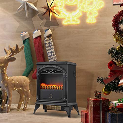 belupai Chimenea eléctrica con calefacción, efecto de llama LED, 2 niveles de calor, fuego realista 3D, estufa eléctrica independiente