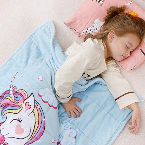 Anjee Kinder Fleece gewichtete Decke 2.3KG, Einhorndecke für Kinder mit 2 Farboptionen, ultraweiche und kuschelige schwere Decke, ideal zum Beruhigen und Schlafen 90 x 120 cm Blau