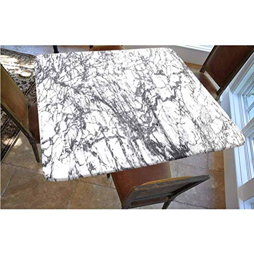 Apartment Decor Polyester Fitted Tablecloth,Murky Marble Rock Motifs with Dynamic Fractal Figures Abstract Artsy Print Square Elastic Edge Fitted Table Cover,Fits Square Tables 36x36 Grey White