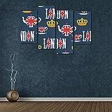 Zemivs 4 Piezas de Pintura de Pared Barata Símbolos de Londres con Elizabeth Tower (Big Ben) Imprimir Lienzo de Pared sin Marco Sala de Estar Oficina Hotel Decoración del hogar Regalo