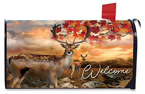 Briarwood Lane Harvest Deer Autumn Magnetic Mailbox Cover Buck and Doe Standard