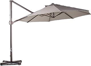 Abba Patio 11ft Patio Offset Hanging Umbrella Outdoor Cantilever Sturdy Umbrella with Crank & Cross Base & Easy Tilt, for Garden, Backyard, Pool and Deck, Tan
