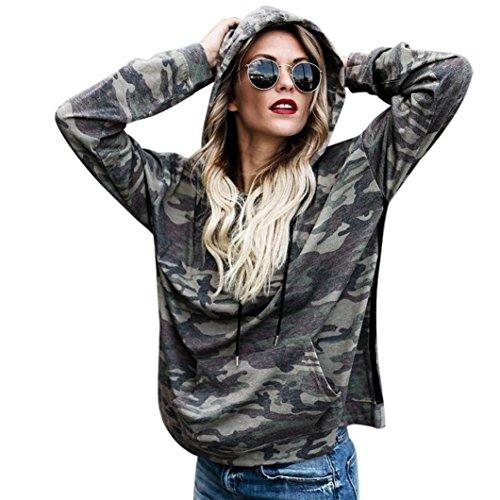 FORH Damen Vintage Camouflage-Style gedruckte Hoodie Sweatshirt super weich Kapuzenpulli Tops Bluse (S, Camouflage B)