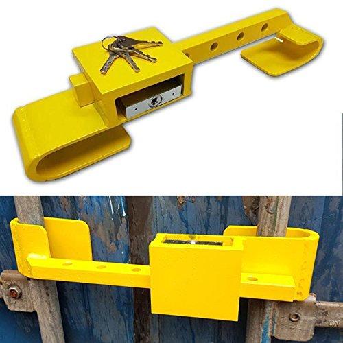 All Ride Containerschloss aus gehärtetem Stahl, Diebstahlschutz, inklusive Bügelschloss, 4 Schlüssel, 2-teilig, Farbe Gelb