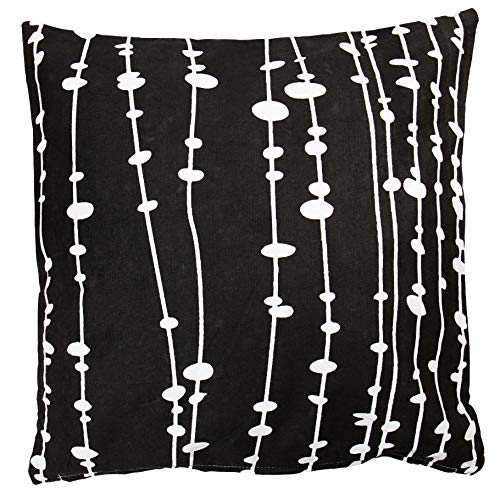 100% Cotton Printed Cushion Cover 45cm x 45cm. Cushion NOT INCLUDED (Black White VInes, Single)