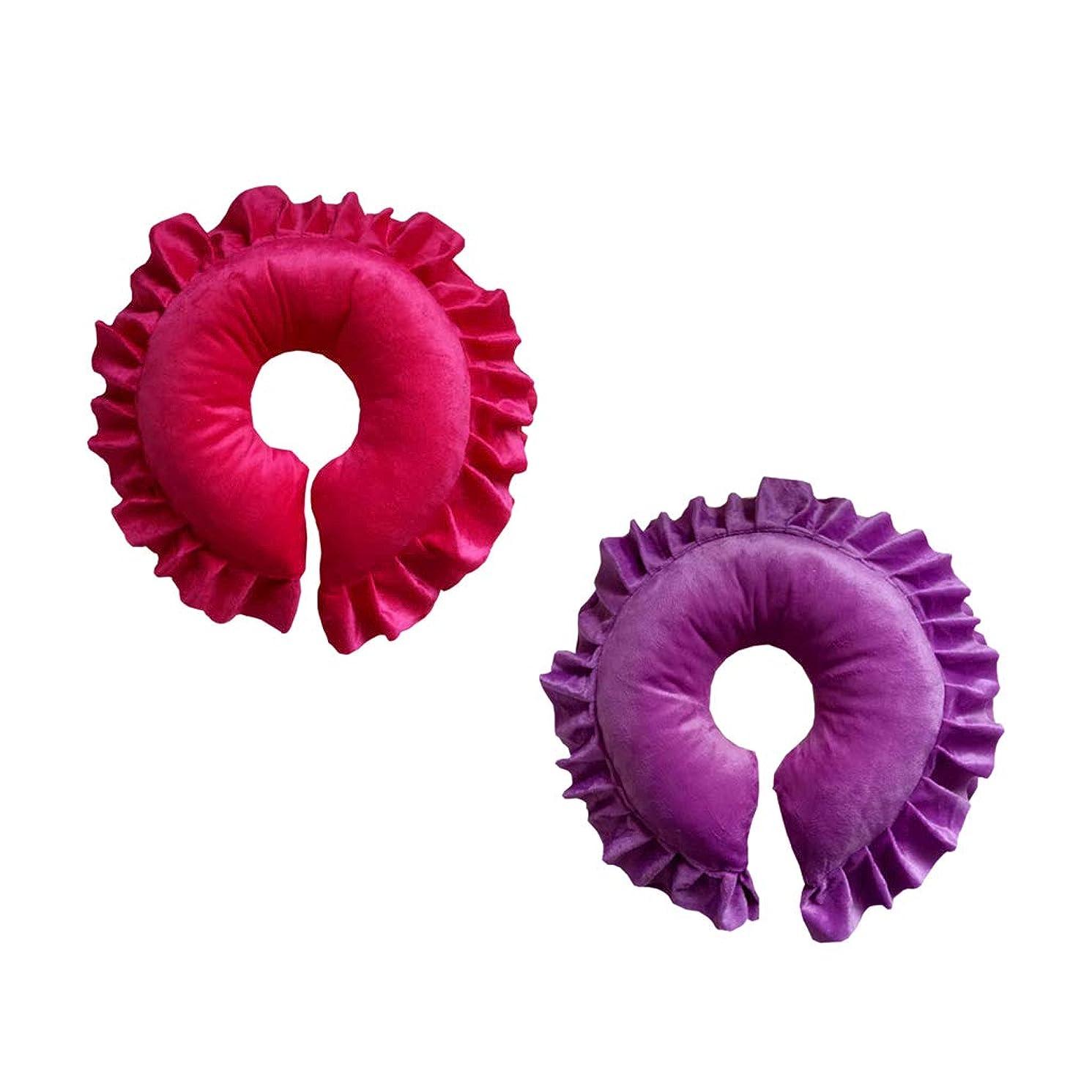 高度すり減る延ばすFLAMEER 2個 フェイスピロー マッサージ用クッション 顔枕 マッサージ枕 サロン スパ 快適 紫&赤