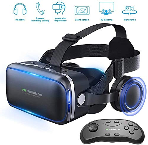 XXXVV Pansonite Vr Headset with Remote Controller, 3d Glasses Virtual Reality Headset for VR Games & 3D Movies, Eye Care System for iPhone and Android Smartphones (black)