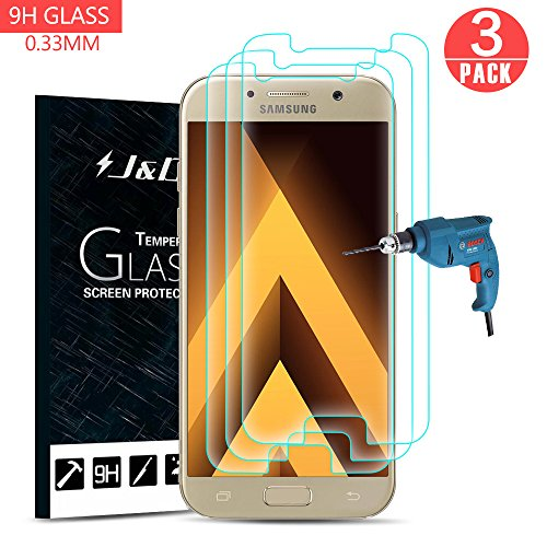 J&D Compatible para 3-Pack Galaxy A3 2017 Protector de Pantalla, [Cristal Templado]...