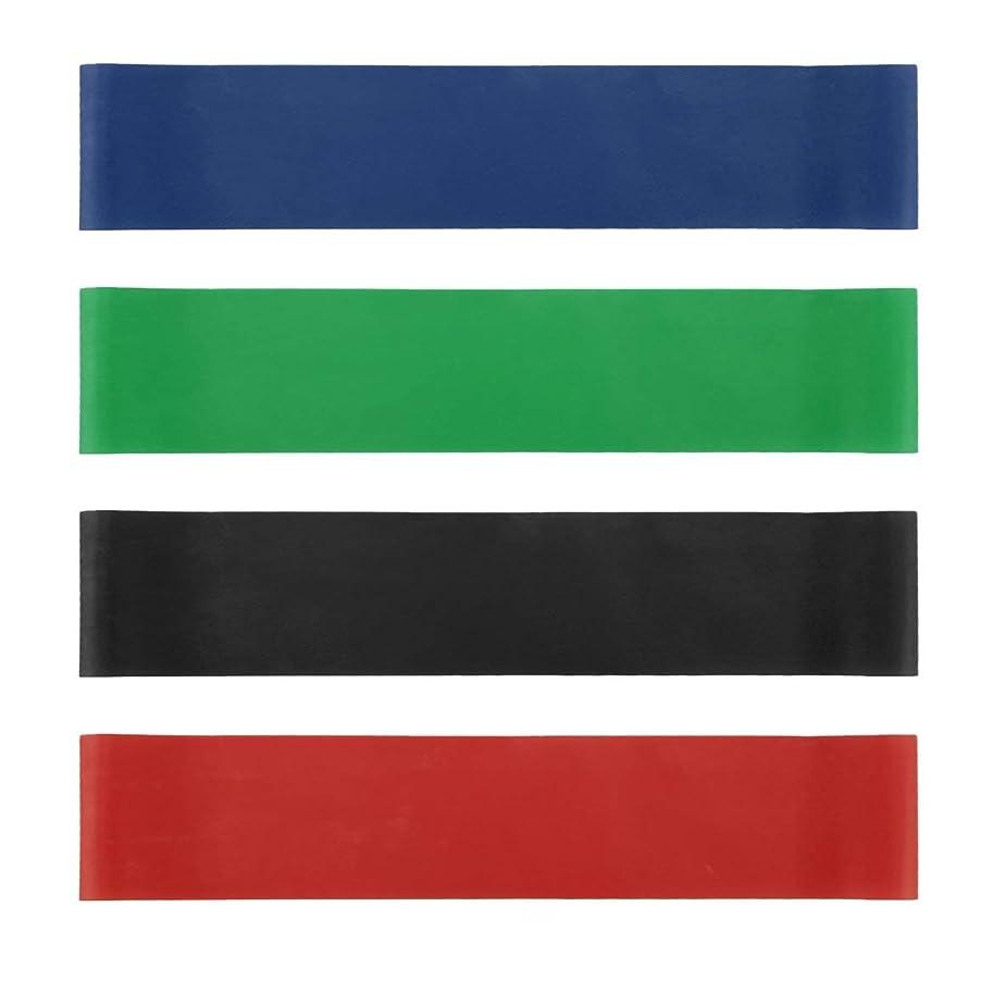 着陸卒業記念アルバム影響を受けやすいです4本の伸縮性ゴム弾性ヨガベルトバンドプルロープ張力抵抗バンドループ強度のフィットネスヨガツール - レッド&ブルー&グリーン&ブラック