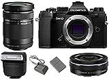 Olympus OM-D E-M5 Mark III Mirrorless Digital Camera Body (Black) + M.Zuiko Digital ED 14-42mm f/3.5-5.6 EZ Lens (Black) + M.Zuiko Digital ED 40-150mm f/4-5.6 R Lens (Black)