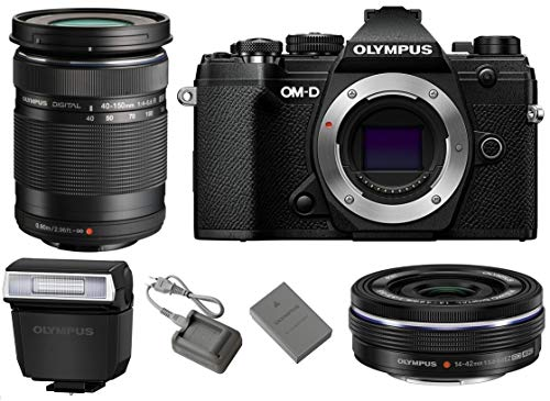 Olympus OM-D E-M5 Mark III Mirrorless Digital Camera Body (Black) + M.Zuiko Digital ED 14-42mm f/3.5-5.6 EZ Lens (Black) + M.Zuiko Digital ED 40-150mm f/4-5.6 R Lens (Black)