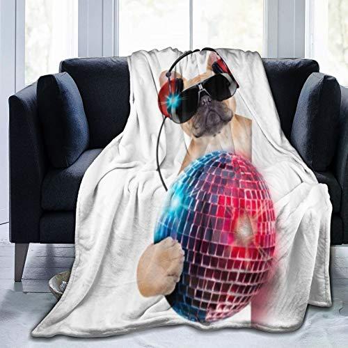 QIUTIANXIU Mantas para Sofás de Franela 150x200cm Música DJ Bulldog Escuchando música con una Elegante Bola de Discoteca y Luces Puppy Enjoy Manta para Cama Extra Suave