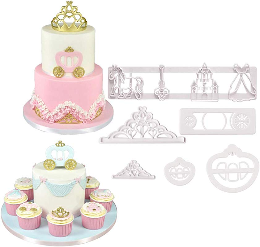 Set Of 6 Fairy Tale Pumpkin Carriage Crown Castle Cookie Cutters Cakecup Decoration Fondant Molds Tools For Baby Shower Party Supplies