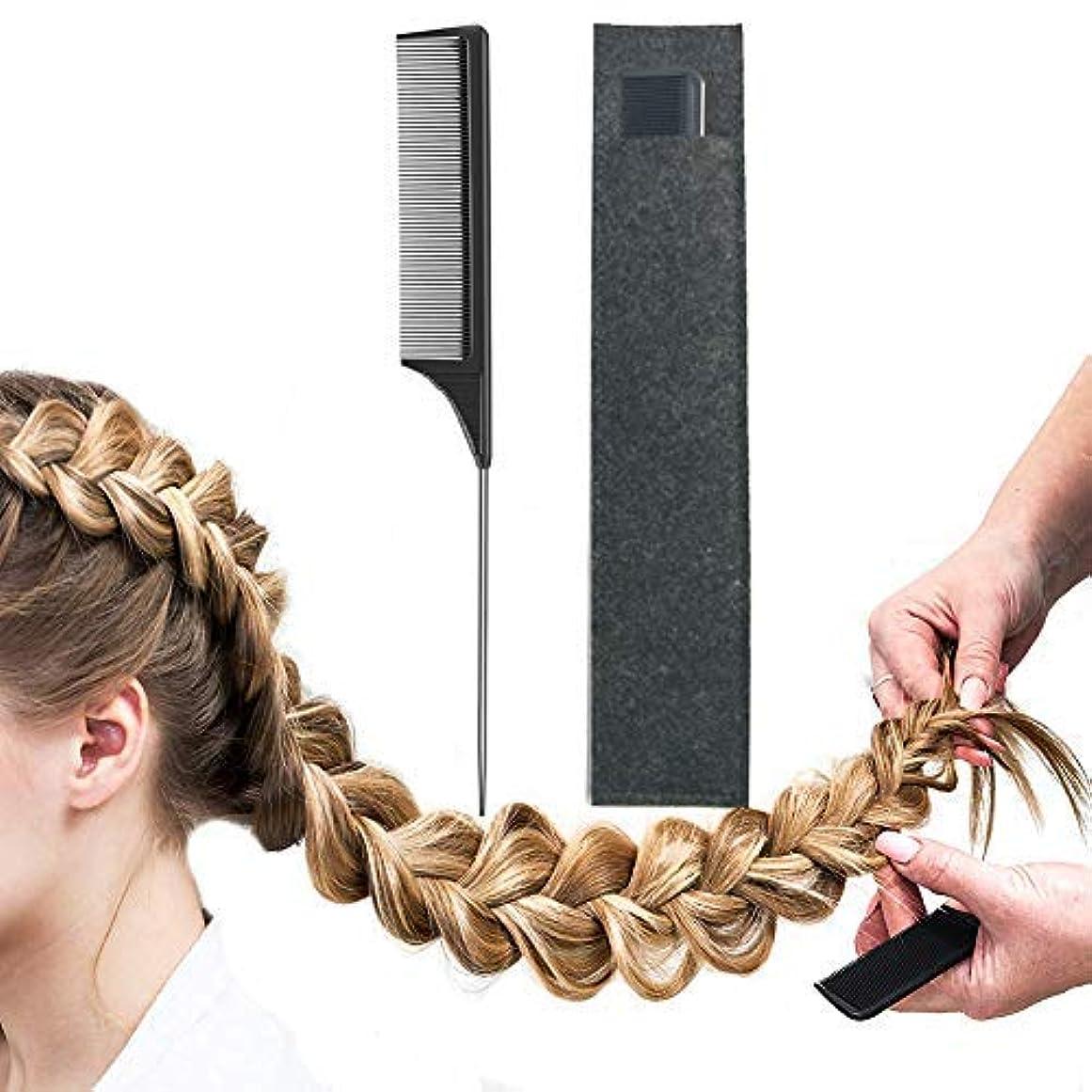 はちみつアメリカ研磨Pintail Comb Carbon Fiber And Heat Resistant Teasing HairTail Combs Metal With Non-skid Paddle For Hair Styling Tools Black [並行輸入品]