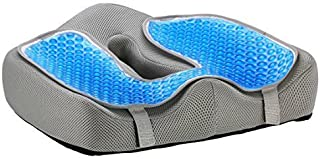 Ziraki Seat Cushion   Memory Foam Orthopedic Luxury & Large Chair Pillow   for Back Pain - Helps with Sciatica Back, Tailbone Pain - Office Chair Car Seat Pillow Plus a Cooling Gel Add On