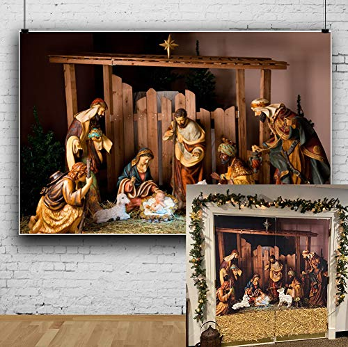 Laeacco 10x6.5ft Vinyl Backdrop Photography Background Christmas Manger Scene Figurines Jesus Mary Joseph Sheep and Magi Belief The Nativity Story Christ Child Scene Backdrop Bible School Shooting
